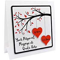 Personalised Anniversary Card For Husband Wife Couple Choice of 6 Colours And 12 Quotes/Messages 1st Anniversary
