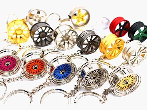 boost-key.com Luxus Schlüsselanhänger aus Metall Felge Auto BBS Vossen Chrom Anhänger Schlüsselring Lederband Leder von VmG-Store (MB Felge Rot Schwarz) - Rote Schwarze Felgen Und