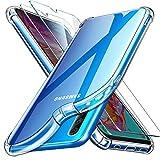 """Leathlux Coque Samsung Galaxy A70 Transparente + 2 × Verre trempé A70 Protection écran Film Vitre, Souple Silicone [Antichoc Bumper] étui Protecteur Housse TPU Case Cover Coque pour Samsung A70 6.7"""""""