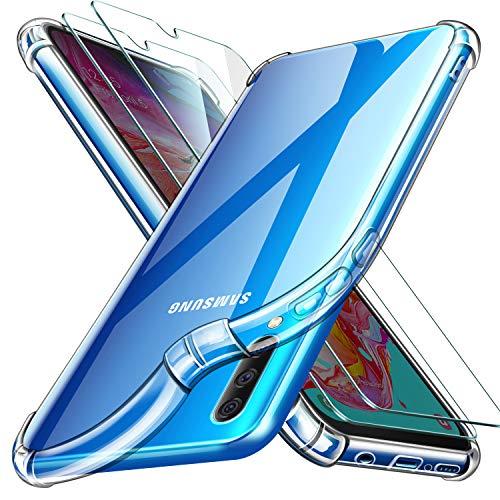 Leathlux Cover Samsung Galaxy A70 Custodia Trasparente + 2 × Pellicola Vetro Temperato A70, Morbido...
