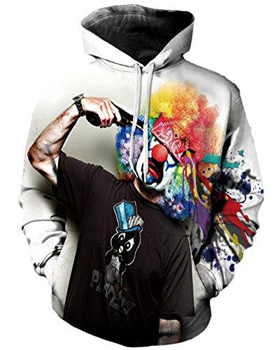 Felpa con Cappuccio Unisex Casual a Maniche Lunghe Uomo Donna Coppia Sweatshirt Clown L/XL