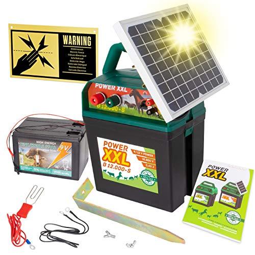 Power XXL B 12.000-S | starkes Solar-Weidezaungerät 9V/12V, inkl. 60Ah Batterie | Megapower zum Kampf-Preis | Hocheffektives Solarmodul - sehr lange Batterielaufzeit | Perfekt für Pferde & Ponyzaun