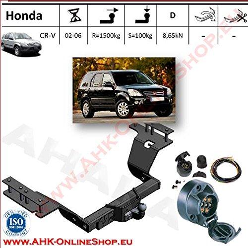 ATTELAGE avec faisceau 7 broches | Honda CRV de 2002 à 2006 / crochet «col de cygne» démontable avec outils