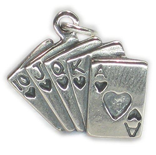 Carte da gioco in argento Sterling ciondolo .925x 1Ciondoli Giochi di carte dkc43480