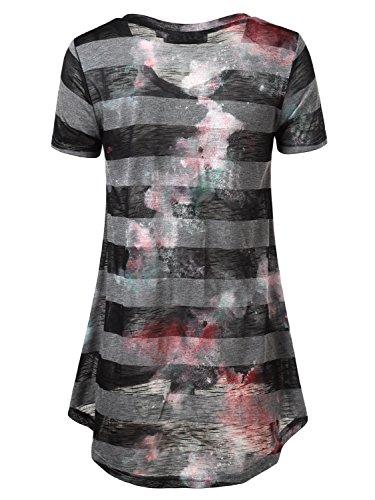 DJT Damen V-Ausschnitt Kurzarm Asymmetrisch T-Shirt Schwarz