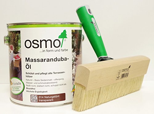 OSMO AB.Bauconcept GbR© Kombiangebot Massaranduba-Öl 014 2,5 Liter Fußbodenstreichbürste 220 mm