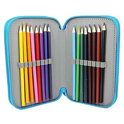 PT-311-GR – Estuche plumier de 3 cremalleras, diseño chica, contiene 16 lápices de colores, 16 rotuladores, bolígrafos, goma, sacapuntas, regla y plantillas
