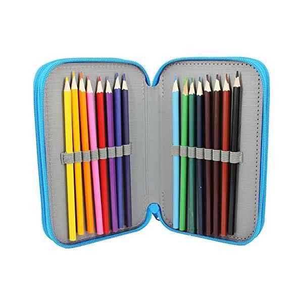 Starplast, Estuche Escolar Plumier, 3 Compartimentos, 16 Lápices de Colores, 16 Rotuladores de Colores, Regla, Sacapuntas, Goma, 3 Bolígrafos para Uso Escolar, Regalo, Diseño Chica con Corona