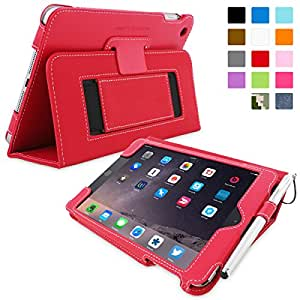 Snugg™ iPad Mini 3 Case - Smart Cover with Flip Stand & Lifetime Guarantee (Red Leather) for Apple iPad Mini 3 (2014)