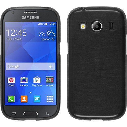 PhoneNatic Custodia per Samsung Galaxy Ace 4 Cover Argento Brushed Galaxy Ace 4 in Silicone + Pellicola Protettiva