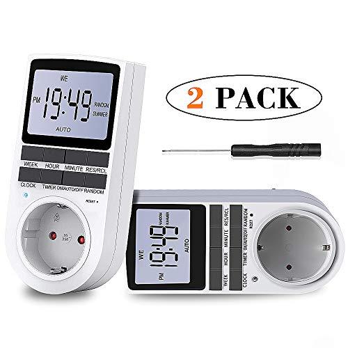 BMK Zeitschaltuhr, Zeitschaltuhr Digital Elektrische Steckdose 10 Programmierbarer EIN-AUS Timer Schalter mit Reset-Tool, LCD-Display, RANDOM-Diebstahlsicherung für Licht Ventilator usw. (2pcs)