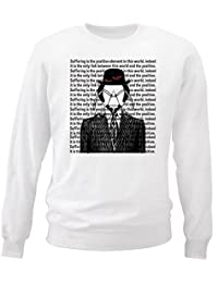 Teesquare1st Men's FRANZ KAFKA - SUFFERING White Sweatshirt