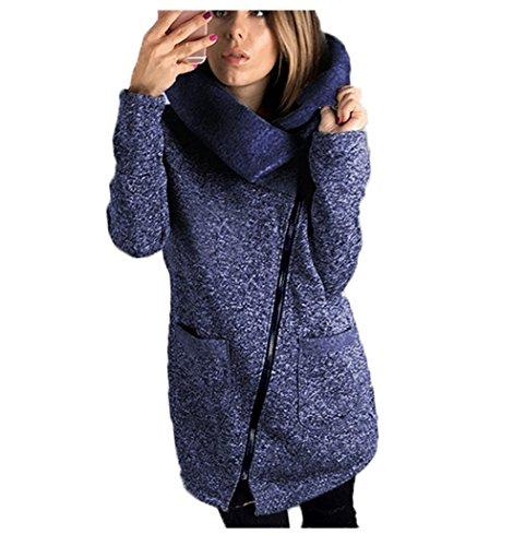 Elecenty Damen Warm Wintermantel Revers Winterjacke Übergröße Parka Outwear Parkajacke Lange Mantel Jacke Mode Kapuzenpullover Reißverschluss steppjacke Oberbekleidung Trenchcoat (S, Blau) (Blau Jacke Mantel)