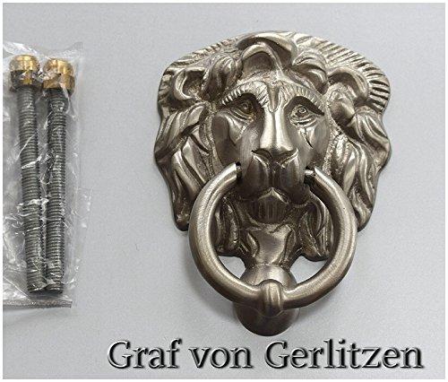 Graf von Gerlitzen Antik Messing Nickel Tür Klopfer Türbeschlag Türklopfer Löwe 105426N