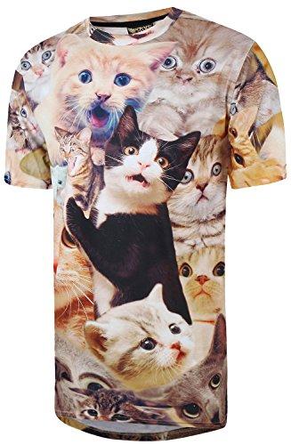 Pizoff Unisex Digital Print Beach Urlaub Langes T Shirts mit Katzen Landschaft Tier Muster Y1726-18
