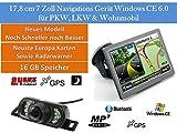 17,8cm 7 Zoll ,16GB Speicher, PKW,LKW,Wohnmobil,GPS Navigationsgerät Navigation Funk Rückfahrkamera 7 LEDs, Erweiterbarer Speicher, Fahrspurassistent, Geschwindigkeitsanzeige,Neuste Karten sowie Radarwarner