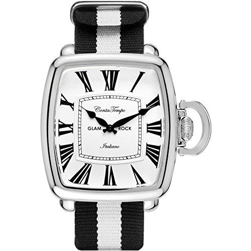 Glam Rock Men's Vintage Two Tone Nylon Band Steel Case Quartz White Dial Analog Watch GR28083F