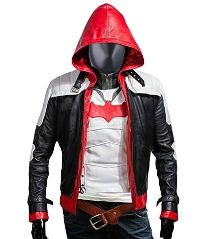 F&H Men's Arkham Knight Batman Genuine Leather Hooded Jacket & Vest 5XL Multi