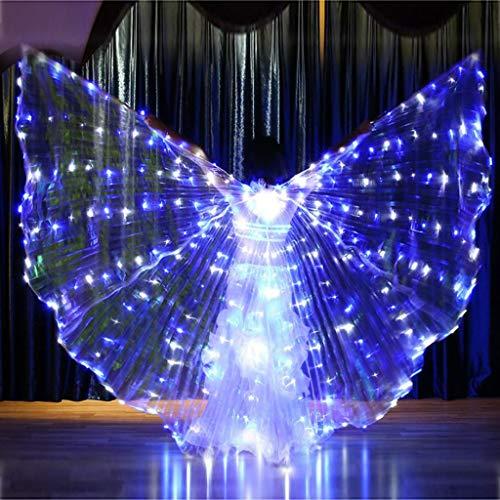 FeiliandaJJ Bauchtanz Kostüm Damen Sternenhimmel LED Schmetterlingsflügel Performance Bekleidung Shows Bühne Weihnachts Halloween Party Bar Fotografie und Cosplay (B)