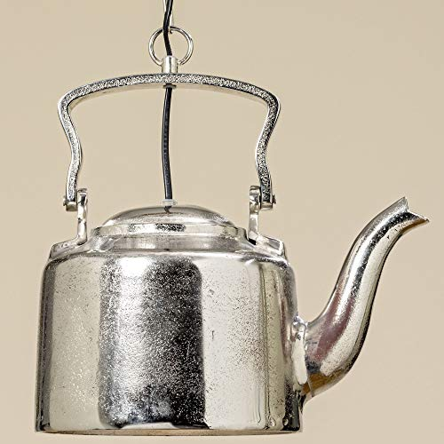DAFLOXX Edle Deckenlampe Teekanne Silber Teekessel Kaffeekanne Alu Metall Lampe