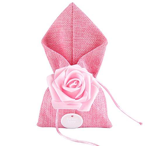 moleya 20Stück Hochzeit Party für Candy Taschen und Baby Dusche für Geschenke Staubbeutel, Pink, 3.54*6.88 inch