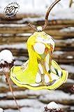 Gartenkugel Tulpe Tropfen, Blume mit Hakenhalter Schäferstab WINTERFEST & ROBUST Glas-Dekoration Blüte Gartentulpe Glocke Rosenkugel 17 cm gross Form Tulpe 125cm Höhe mit Schäferstab -Tulpenform gel