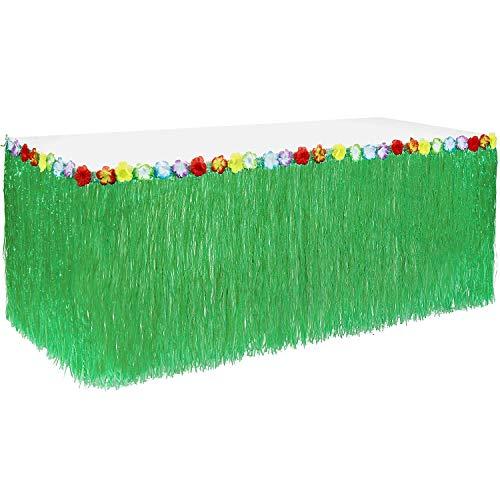 75cm Hoher Tabellen-Rock Tischrock Tischröcke, hawaiischer Luau Hibiscus grüner Tabellen-Rock für Partei-Dekoration, Ereignisse, Geburtstage, Feier ()