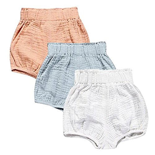 3 Pack of Kleinkind Baby Mädchen Jungen Cotton Linen Sommer Blend Cute Bloomer Shorts 2-3 Y (Sport-kleinkind-unterwäsche)