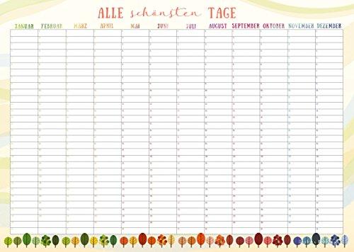 Calendario Perpetuo Da Parete.Sophies Kartenwelt Calendario Perpetuo Da Parete Formato Din A3 Bellissimo Design Per Annotare Compleanni E Appuntamenti Ricorrenti