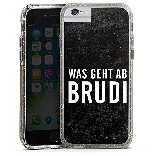 Apple iPhone 8 Bumper Hülle Bumper Case Glitzer Hülle Bro Brudi Sayings Bumper Case Glitzer gold