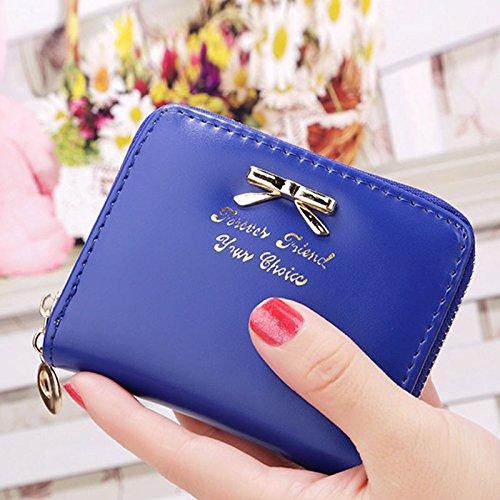 Interesting® Donne moda in pelle portafoglio piccolo carta titolare Zip moneta borsa frizione borsa Blu