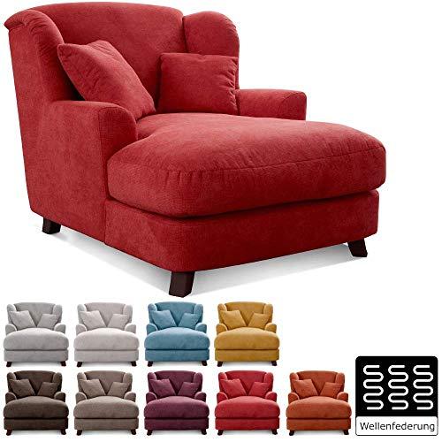 Cavadore XXL-Sessel Assado / Großer Polstersessel mit Holzfüßen und großer Sitzfläche / Inkl. 2 Zierkissen / 109 x 104 x 145 / Webstoff Rot