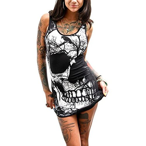 Juleya Vestido de Verano Mangas de Las Mujeres del cráneo Impreso Chaleco Vintage Vestido Mini Vestido Casual 6011 M