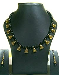 GBR Handmade Black Beads And Antique Gold Necklace With Earrings