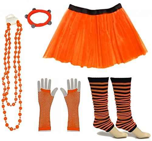 (A-Express Frauen kostüm 80er Jahre Neon Tutu Streifen Beinstulpen Fischnetz Handschuhe Tüllrock Karneval Tüll Damen Fluo Ballett Verkleidung Party Tutu Rock Kostüm Set (36-44, Orange))