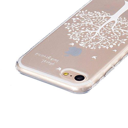 JAWAEU Coque Etui pour iPhone 7 Transparent,iPhone 7 Coque en Silicone,iPhone 7 Tpu Cover Souple Transparent Housse Etui Ultra Mince Cristal Clair Caoutchouc Bumper Housse Etui de Protection Flexible  Arbres blancs