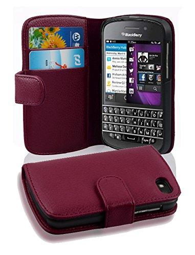 Cadorabo Hülle für BlackBerry Q10 - Hülle in Bordeaux LILA – Handyhülle mit Kartenfach aus struktriertem Kunstleder - Case Cover Schutzhülle Etui Tasche Book Klapp Style