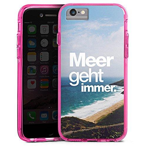 Apple iPhone X Bumper Hülle Bumper Case Glitzer Hülle Mer Meer Ocean Bumper Case transparent pink