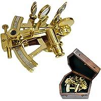 Marine Sextant in scatola in legno, motivo: nave Sextant Nautical Sextant mare marino strumento di navigazione satellitare