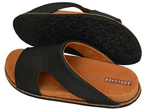 Relaxen Damen Herren Unisex Leder Pantolette Hausschuhe Orthopädisch Medizinische Arbeit Schuhe Modell MA02 Schwarz