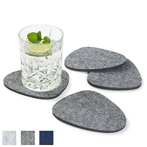 metrisch, 8er Set, Farbe wählbar, grau, Glasuntersetzer beidseitig nutzbar. Untersetzer aus Filz, schützen Tisch & Bar. Getränke-Untersetzer für Glas, Gläser, Tassen (Filz-untersetzer)