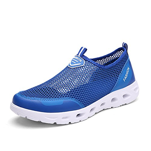 Ashion Verão Rasa Ao Ar Livre Net Blau Schuhe