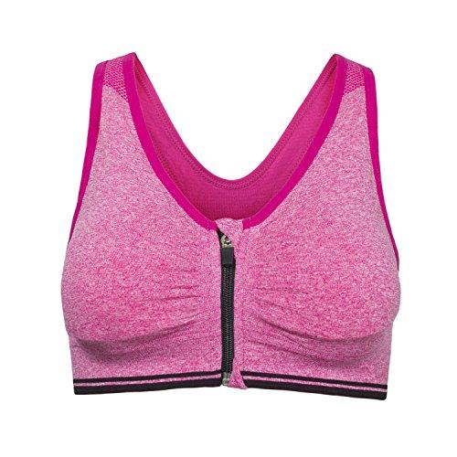 Cassiecy Sport BH Damen Yoga BH Starker Halt Vorne Reißverschluss Gepolstert ohne Bügel Comfort Atmungsaktiv Joggen Bra Fitness Push Up BH Top (3XL, Rosa)