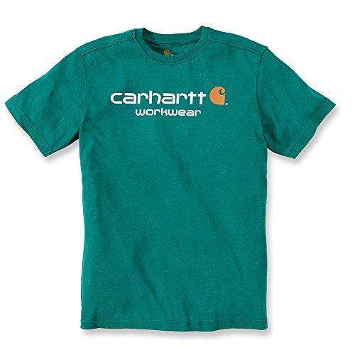 Carhartt workwear core logo 101214maglietta a maniche corte camicia da lavoro, uomo, alpine heather, xs