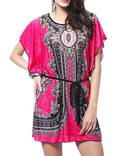 YICHUN da donna estate Tops Mini Boho spiaggia vestito corto maniche a pipistrello Vintage Loose Shirt Dress Rose Taglia unica
