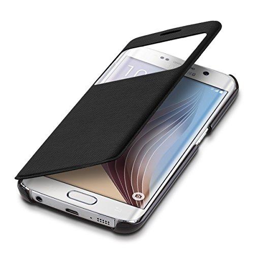 kwmobile Hülle für Samsung Galaxy S6 Edge - Bookstyle Case Handy Schutzhülle mit Sichtfenster - Klapphülle Schwarz