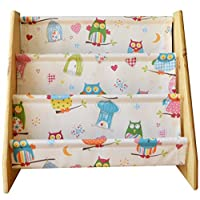 Bookcase wooden bookcase with owl print fabric slings