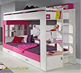 High Sleeper/Bunk Bed KOMI (mattress not included) with Storage Drawers and Combination Of Shelves. Stairs at the back.