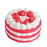 Squishies Clearance, Squishies Kawaii Strawberry Cake Slow Rising Jumbo Cream Scented Charms Soft Silicone Toys Anti Stress Squeeze Mini Squishy Animal Toys Squishy Slow Rising for Kids Stress Relief Toys for Kids Adults (Red)