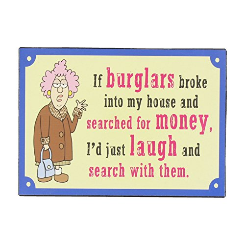 Aunty Acid 21cm Metal Wall Plaque If Burglars broke into my house by Widdop Bingham